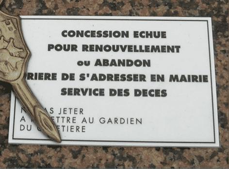 Panneau fin de concession cimetière montparnasse